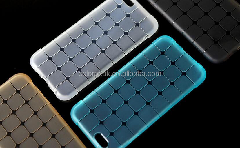 New Fashion Crystal Clear Magic cube tpu case Lattice Design back cover for iPhone 7 7 plus Candy Color