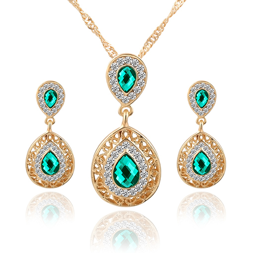 Classic Design Jewelry Sets Double Water Drop Crystal Earrings Necklaces Set For Women Engagement Party Jewelry Christmas Gift