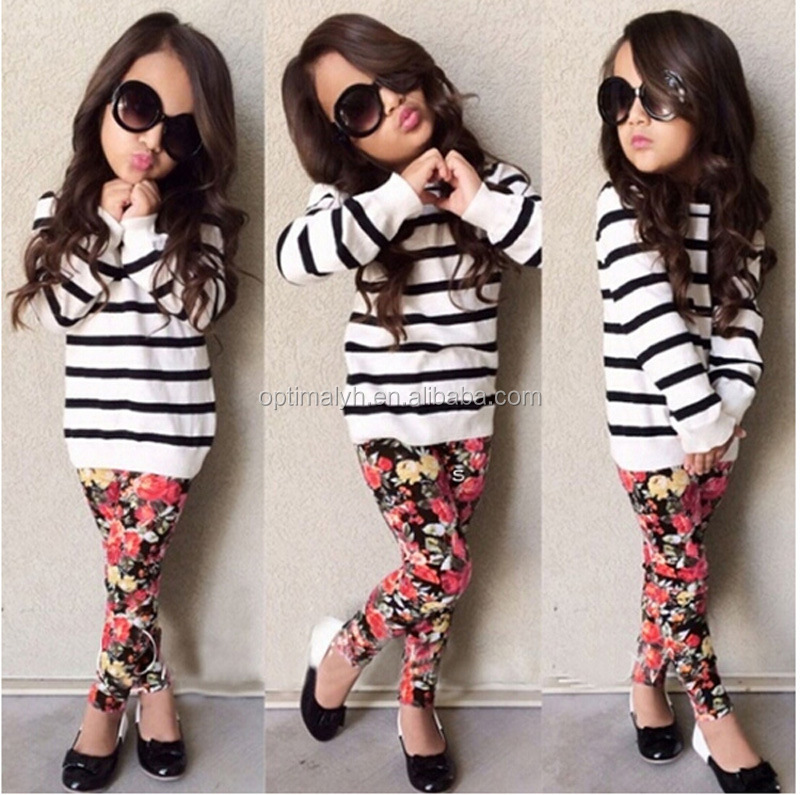 Children's clothing sets Back to school black white strip floral girls boutique outfit