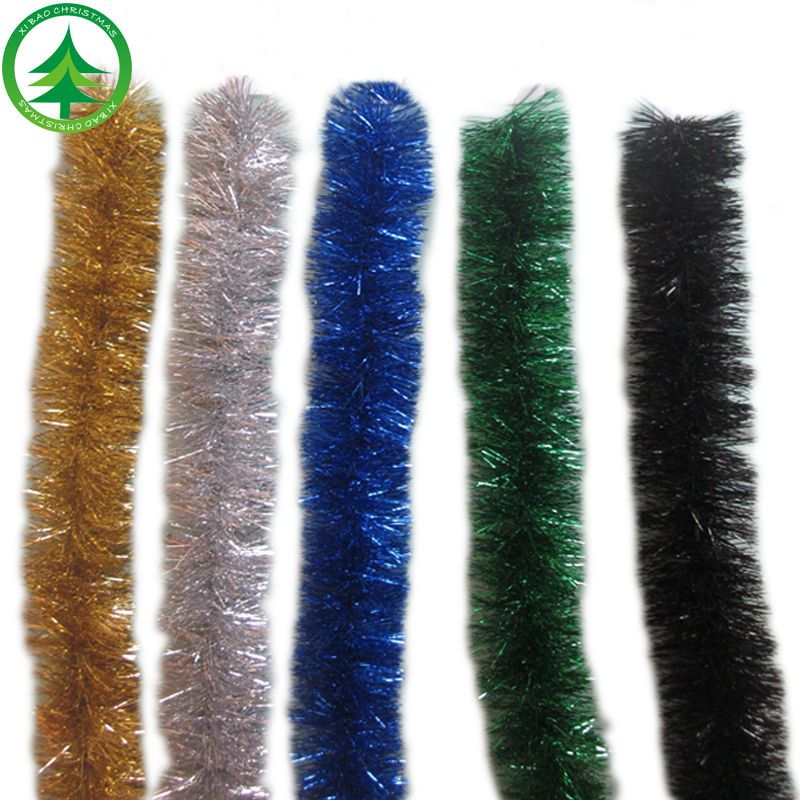 2017 wholesale Promotion christmas metal tinsel garland Christmas wired tinsel Garland pink Christmas tinsel garland