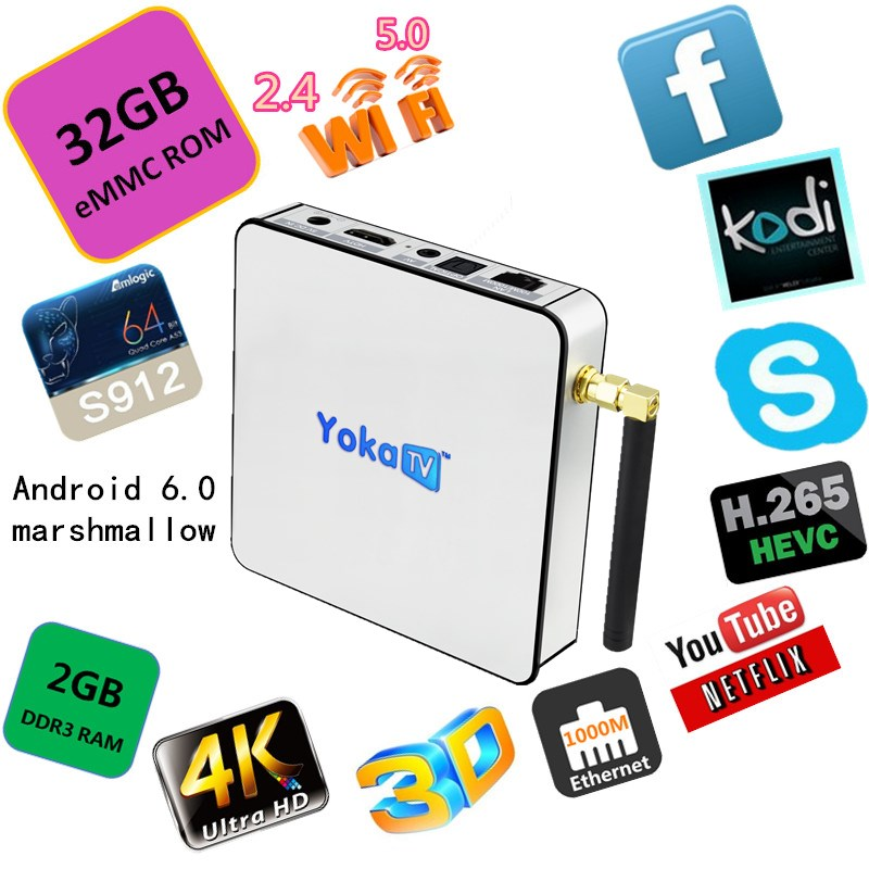 Yoka TV KB2 32GB eMMC Amlogic S912 Octa core android tv box support webcam video call skype