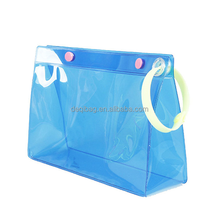 Customized transparent waterproof button closure cosmetic candy bags clear PVC bag