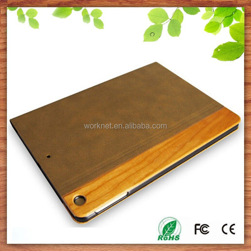 shenzhen factory protecting cover case for ipad mini,real wood leather portfolio case for ipad mini