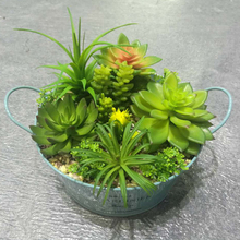 Cute indoor metal pot mini artificial succulent plants for home decoration