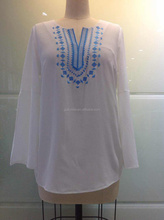 Top quality ladies ethnic style embroidered cheap wholesale blouses