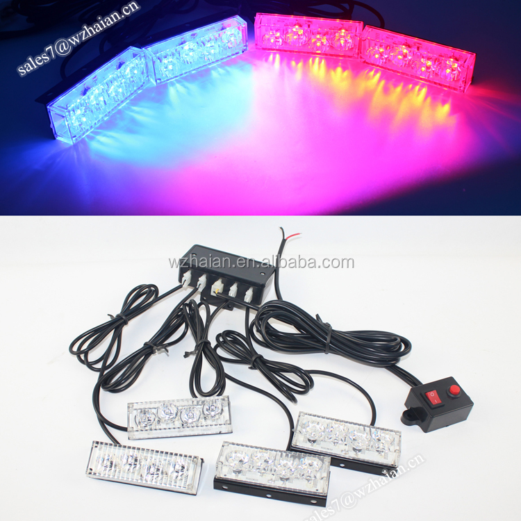 Car Grille LED Warning Deck Light/Red Blue Strobe Security Signal LED Light Kit For Vehicle DS-678L 4A