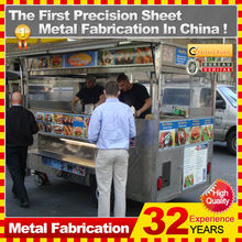 customized made stainless steel street mobile food cart trailer for sale