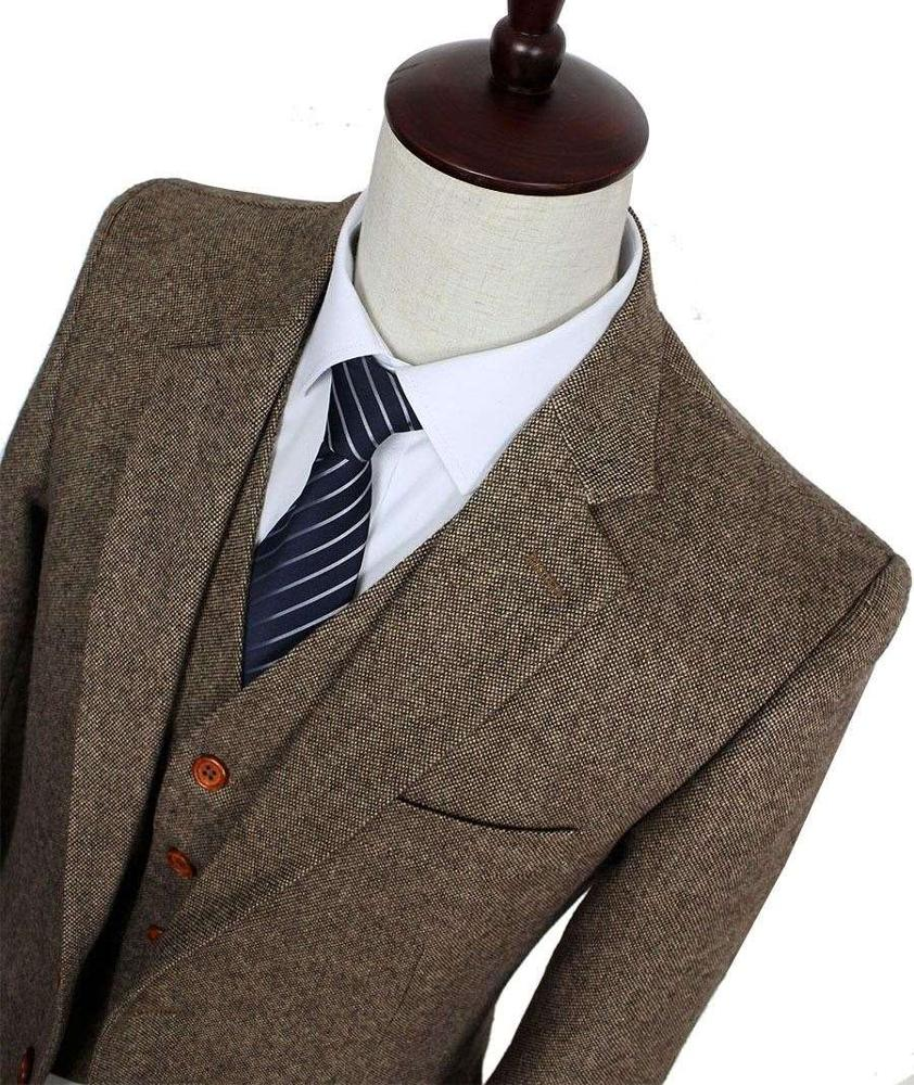 MOON BUNNY Brown Classic Tweed men slim fit suit Blazers Retro gentleman style wedding suits for men wholesale MOQ 1set