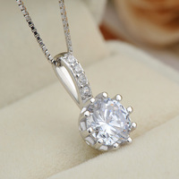 Wholesale new design simple geometric pendant with CZ diamond 925 sterling silver jewellery link chain necklace