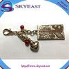 New Style Key Chain with Heart Shape Charms and Enameled Tags