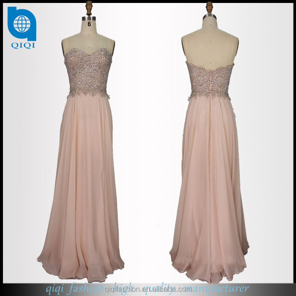 2017 QIQI Wholesale Sweetheart Low Cut Chiffon Beading Maxi peach Elegant Mother of the Bride Dress