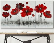Handmade Modern Triptychs Artificial Red Flower Canvas Painting for Home Decor