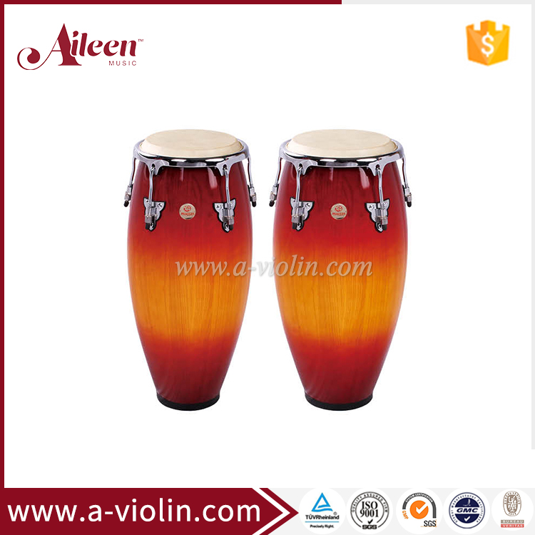 True Skin Cow Heads Wooden Conga Drum Latin Percussion (ACOC110RB)