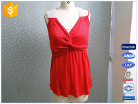 Hot Sale Knitted Fashion Beading Ladies Red Tank Top