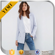 Wholesale Tailored Linen Blazer Women Unlined Linen Long Sleeve Jacket