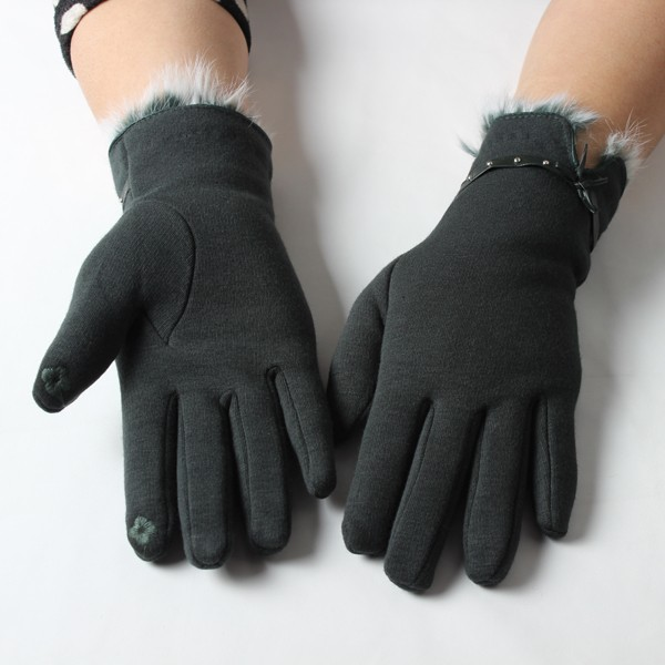 Customized rabbit fur cuff winter gloves sexy girls wearing touch screen gloves alpaca