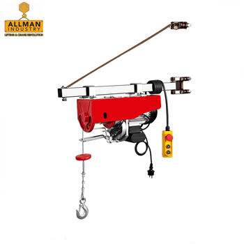 China supplier ALLMAN 100kg up to1000kg single /double hook fast speed PA mini Electric Wire Rope Hoist