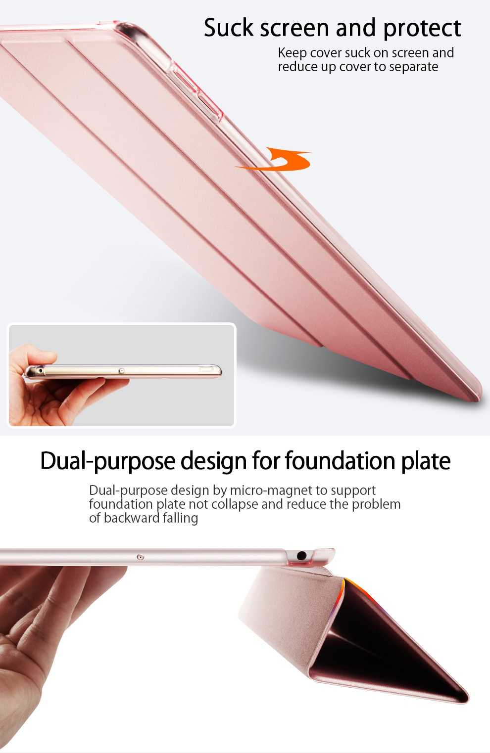 Pu leather factory prices smart trifold Joy pattern tablet cover/case for Apple Ipad air1