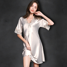 Mature women nightwear long nightgowns sexy short sleeve silk sleepwear