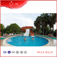 Small fiberglass Water Play Slides And Amusement Park Slide For Resorts/Family Pool/Restaurant