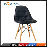PU Back And Seat Wood Legs Cheap Leather Chair