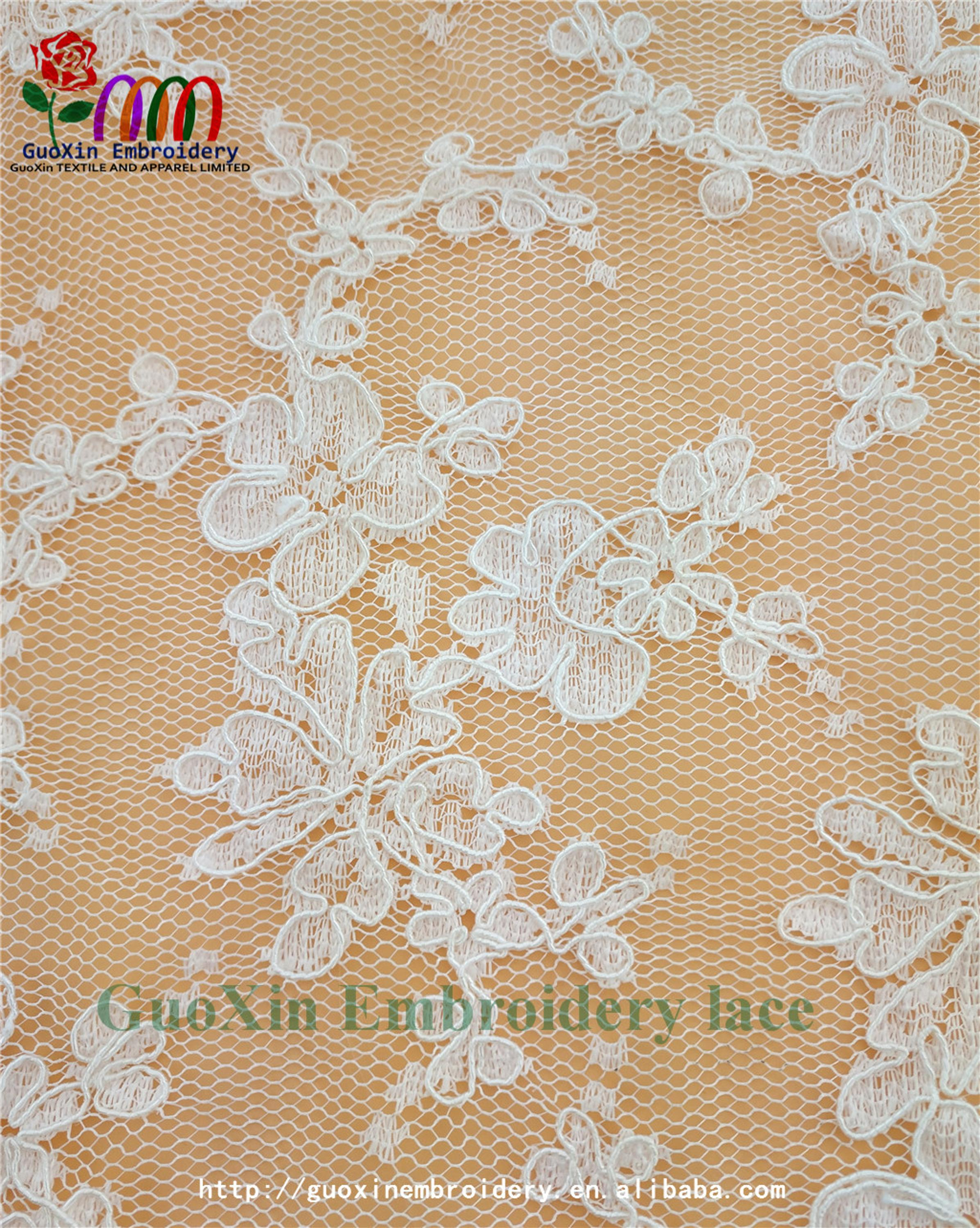 factory wholesale ivory embroidered french lace fabric with cording