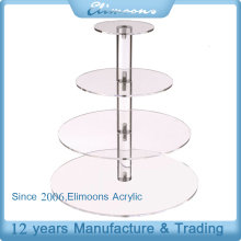 Wedding Party 4 Tier Acrylic Cake Stand / Clear Round Plexiglass Cupcake Display Holder
