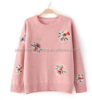 Stylish women Cashmere sweater printting pattern Pretty Lady Embroidery Knitted Sweater