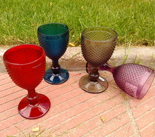 Vintage Goblet Pressed Colored Cheap Wholesale Unbreakable Embossed Wine Glass
