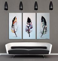 Handmade Feather Wall Art Panel Decoration Easy Oil Painting Canvas Pictures
