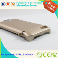 2200mAh Portable External Power Pack Backup Battery aluminum material charger case for iPhone 5