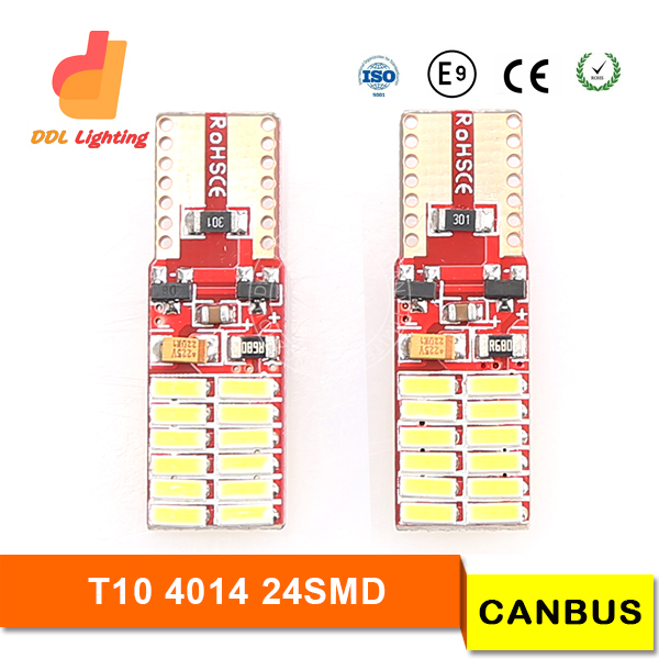 Light point 2016 newest arrival T10 24smd 4014 canbus high bright car light canbus auto led light