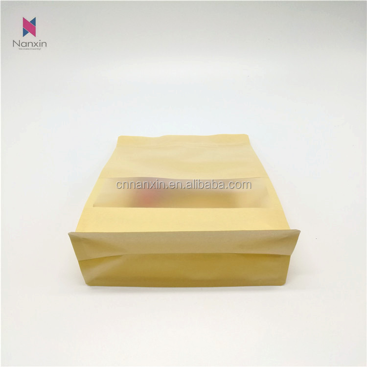 food grade packaging pouch laminated flat bottom kraft paper bags