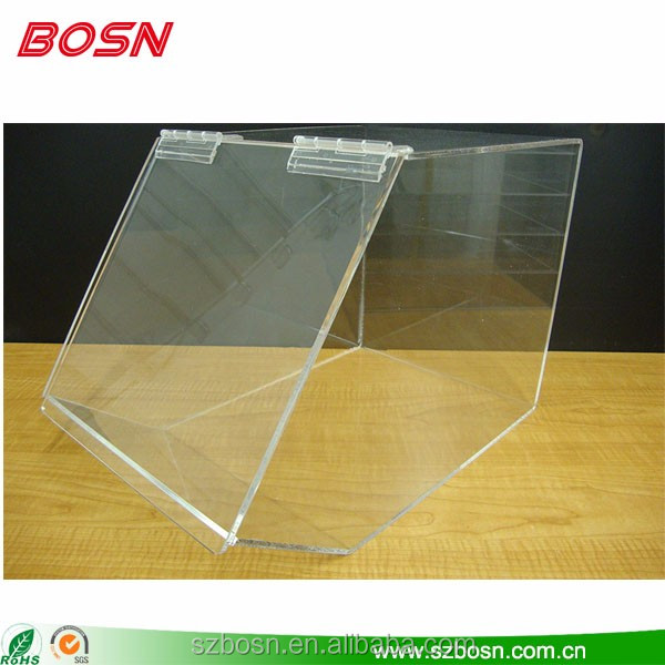 high capacity acrylic food display case acrylic bread display stand