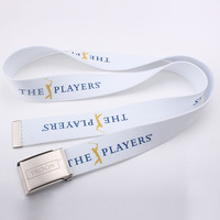 White color designer belts wholesale with heat transfer logo