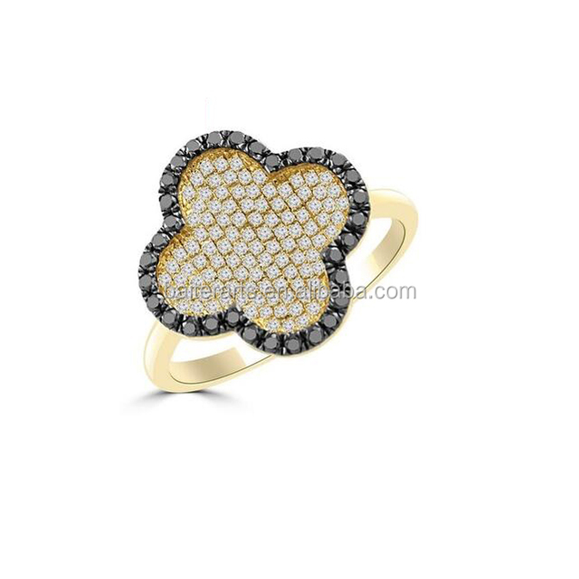 Yellow Gold Plated 925 Sterling Silver Cubic Zirconia CZ Pave Set Black & White Diamond Wedding Four leaf Clover Ring
