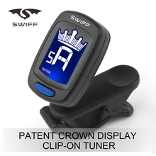 Rotational cheap crown LCD display Digital Clip Chromatic Tuner guitar tuner clip-on tuner for bass ukulele violin