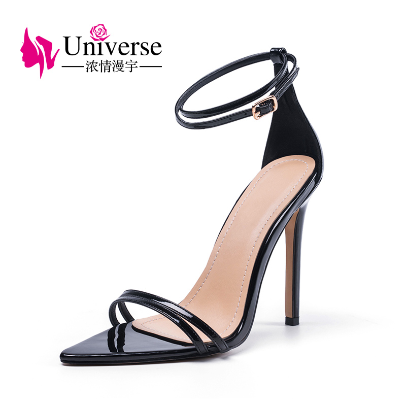 <strong>A014</strong> Pointed Toe Ankle Strap Thin Heel Sandals High Heel Women Shoes