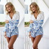 New Fashion v neck long sleeve printing jumpsuit casual new design beach holiday dress summer women dress