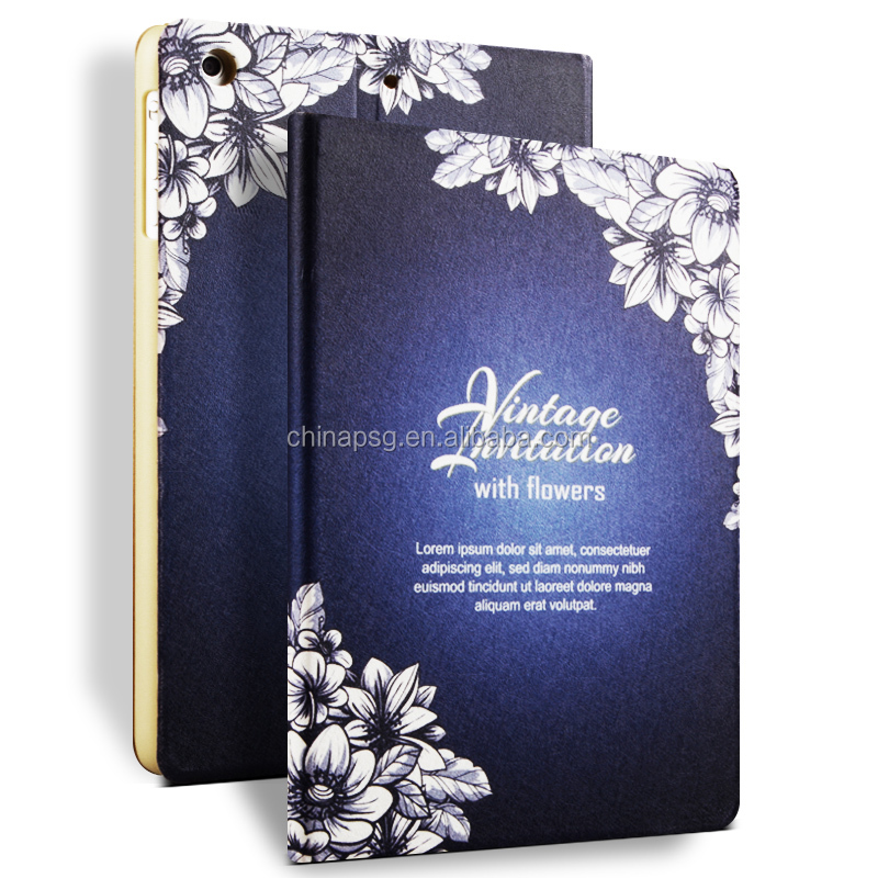 Color Printing Folio Stand PU Leather Case for iPad, Smart Flip Cover Case for iPad2 3 4 (Lily)