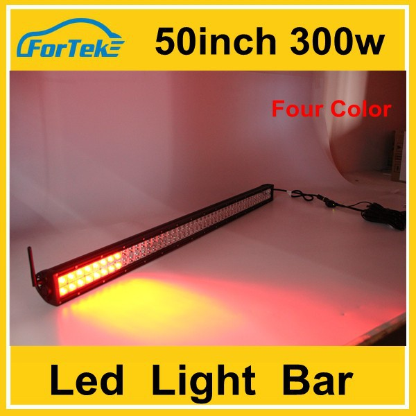 Muti-color flashing 50inch 300w led light bar red blue white and yellow