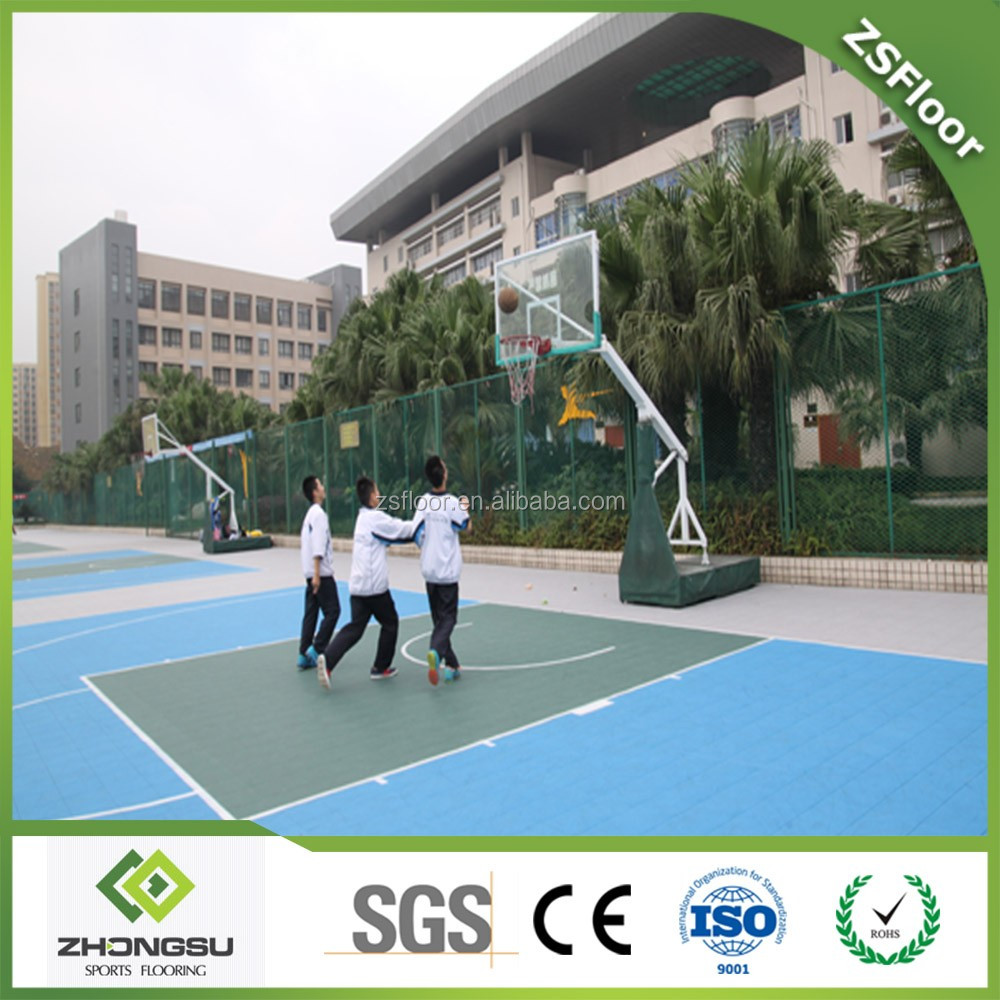 ZSFloor Good price and anti-slip modular pp interlocking basketball court floor