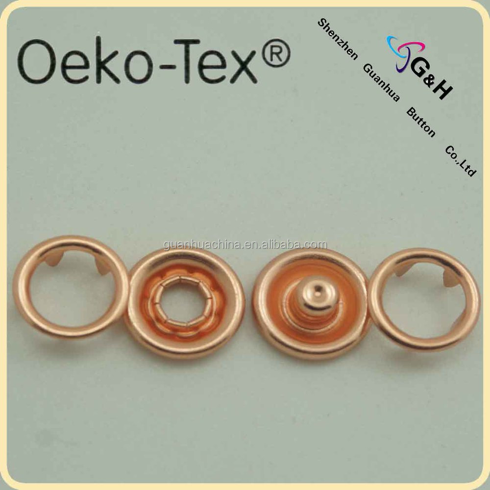 18L ring prong snap fastener with rose gold color