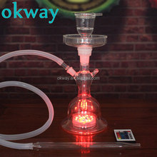 Okway Nargile All Glass Shisha Hookah With Led Light In Leather box