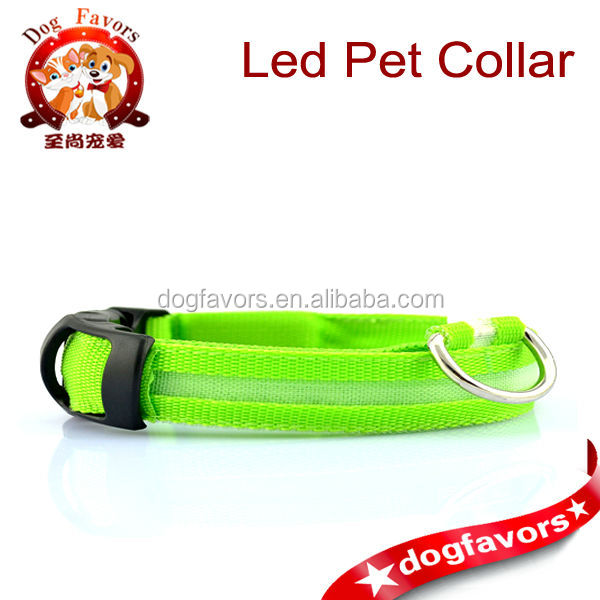 Adjustable Pet Dog Cat Waterproof LED Lights Flash Night Safety Nylon Collar