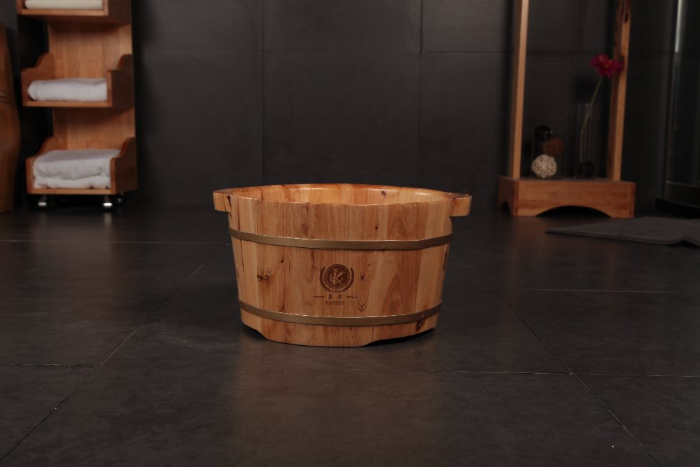 Chinese classical style Tai Chi wooden foot soak basin with massage bead