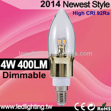High brightness 4w 330lm 2500k 92Ra compared e14 led candle bulb 7w