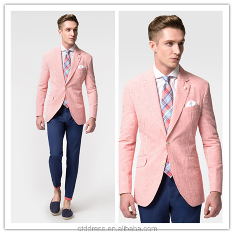 2015 new spring style high quality red striped slim fit mens seersucker suit jacket