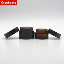 Popular Success hot sale 20g 30g 50g 60g 100g amber glass jar with black cap for daily care