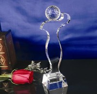 2014 New DesignCrystal Award, k9 clear crystal trophies with sandblasting base and a ball